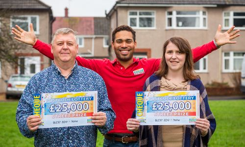 People's Postcode Lottery Ambassador Danyl Johnson presented Yate players Ian and Catherine with fantastic £25,000 cheques