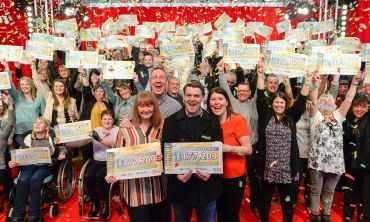 Players in postcode sector BB2 4 in Blackburn celebrating a massive £3 Million win in the April Postcode Millions