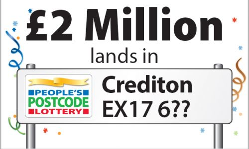 Players in Crediton will be sharing an incredible £2 Million, thanks to their October Postcode Millions win