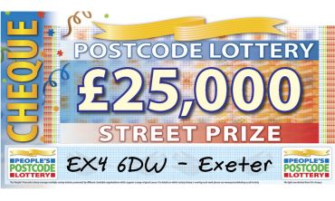 Lucky players in EX4 6DW will take home a whopping £25,000 for every ticket they play