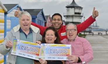Our lucky Harwich winners celebrate their £25,000 wins