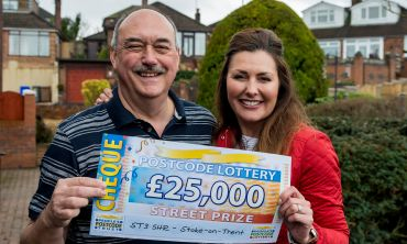 Nicholas Millard in Stoke-on-Trent was presented with £25,000 by Judie McCourt this weekend