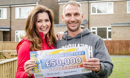 Sunnybrow player Richard Rowell is overjoyed with his £50,000 win