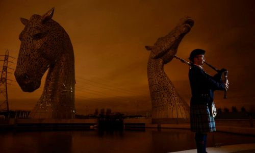The Kelpies, in Falkirk, went dark to support Earth Hour