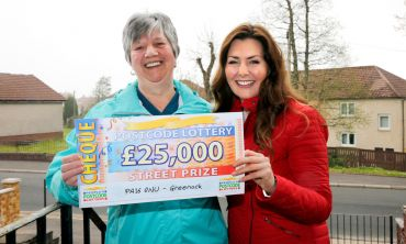 The Saturday Street Prize has landed in Greenock, and £25,000 winner Elizabeth Nairn could not be happier