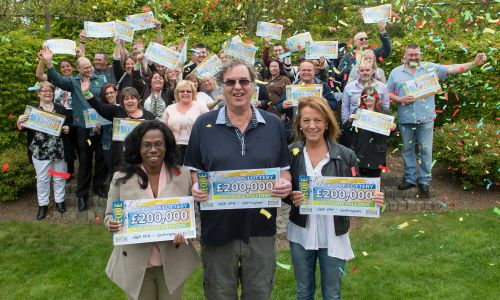 Our lucky Nottingham Postcode Millions winners celebrating with their life-changing cheques