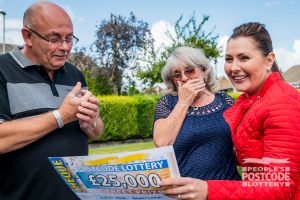 John and wife Val were surprised to receive their cheque from Judie