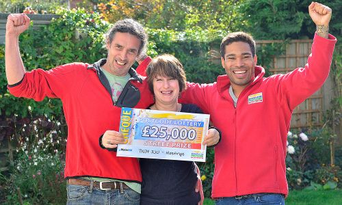 Hastings winner Sara, her partner Mick and Street Prize Presenter Danyl Johnson