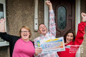 Ecstatic winner Paul with his wife and Street Prize Presenter Judie McCourt