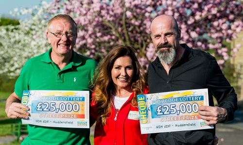 Judie with our lucky Huddersfield Street Prize winners, Kenneth and Robert