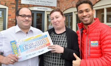 Lucky winner David with his partner Sharon and Street Prize Presenter Danyl Johnson