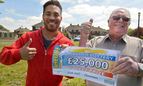 People's Postcode Lottery Ambassador Danyl Johnson alongside Chiseldon winner Anthony Nixon