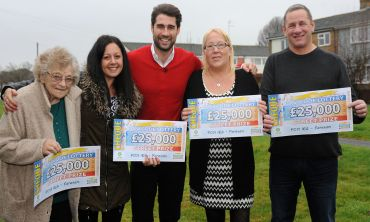Four of the five lucky Fareham winners with Street Prize Presenter Matt Johnson
