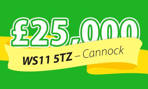 One player in Cannock has struck it lucky this weekend, with a £25,000 win