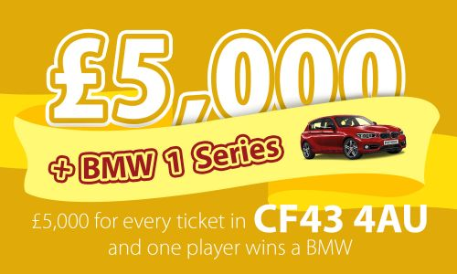A lucky winner in postcode CF43 4AU in Maerdy has won a brand new BMW
