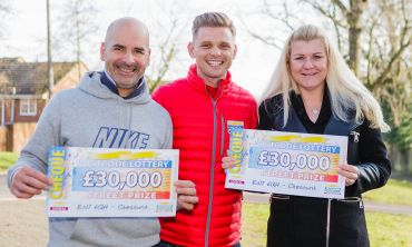 Happy winners Christophe and Laura with Street Prize Presenter Jeff Brazier