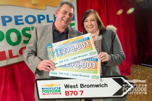 Big winner Terrence with his partner Pauline, and their fantastic prize cheques