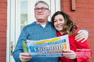 Albert was thrilled to receive his £60,000 cheque from Judie