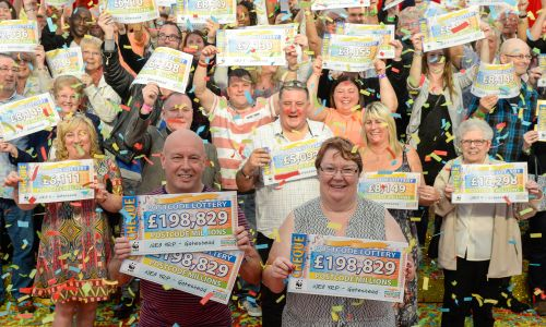 Our lucky Postcode Millions winners celebrating in Gateshead