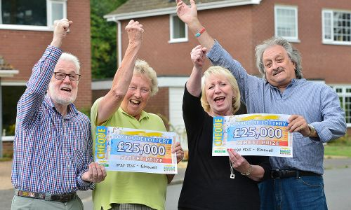 Our Elmswell winners celebrate their fabulous winning cheques