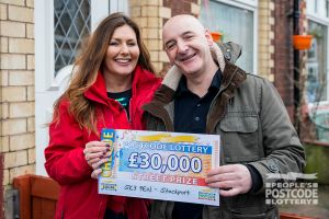 Stockport winner Dominic with Street Prize Presenter Judie McCourt