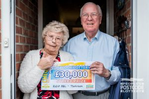 Beryl and Peter with their fabulous £30,000 cheque