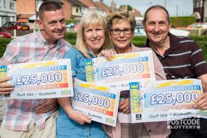 Happy Rudheath winners and their fantastic £25,000 cheques