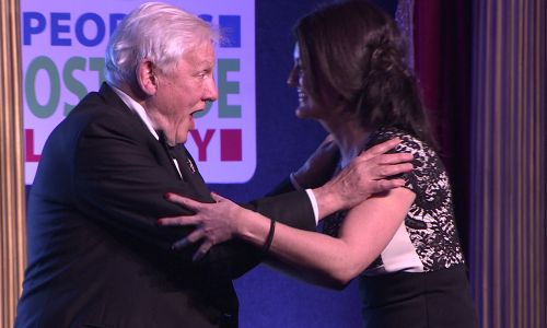 Sir David was shocked to meet Julie on stage 35 years later at the People's Postcode Lottery Charity Gala