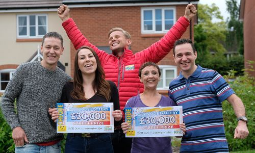 Jeff with our lucky Leamington Spa Street Prize winners