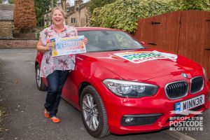 Denise was ecstatic when she learned she had won not only £50,000 but also a brand new BMW