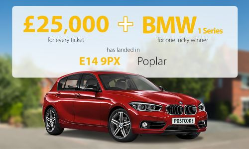 One lucky Poplar player has scooped £75,000 and a new BMW