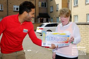 Linda couldn't believe it when Danyl Johnson presented her with a £30,000 cheque