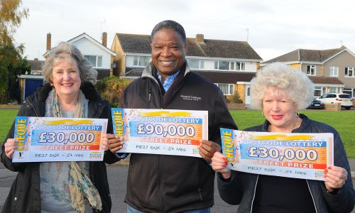 Three of the lucky St Ives winners with their fabulous cheques