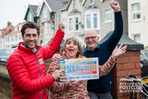 Matt, Anne and Andrew celebrating a big £60,000 win