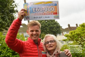 Jeff with £60,000 winner Patricia Rhodes