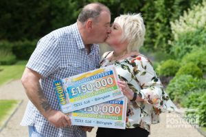 Dawn and Keith sealed their £300,000 win with a kiss
