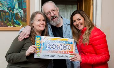 Hazlerigg winner Howard, his wife Claire, and Street Prize Presenter Judie McCourt