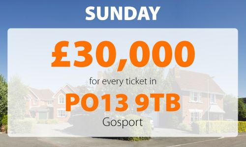 One very lucky Gosport player will be celebrating this weekend after winning a fantastic £30,000 prize