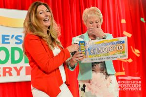 Angela Driver, one of our lucky Billingham winners, collecting an amazing £150,000 cheque