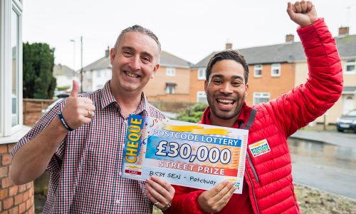 Lucky Patchway winner Nicholas with Street Prize Presenter Danyl Johnson