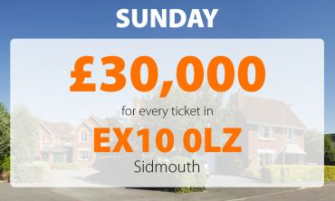There was a £30,000 Sunday surprise win for one lucky player in Sidmouth postcode EX10 0LZ