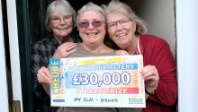 £30,000 winner Margaret with her sisters Frances and Theresa