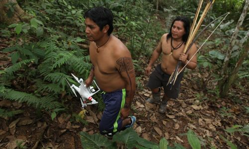 Thanks to All Eyes on the Amazon, indigenous people can use technology to stop deforestation of the Amazon (photo credit: Augusto Escribens)