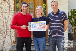 Jane's husband Gary didn't know she was playing People's Postcode Lottery until Matt Johnson knocked on their door!