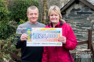 Eric and Sue are overjoyed with their £25,000 win
