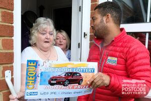 Pamela was shocked when she discovered she had won a BMW along with her £25,000 prize!