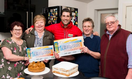 The Irlam winners celebrate their £30,000 win