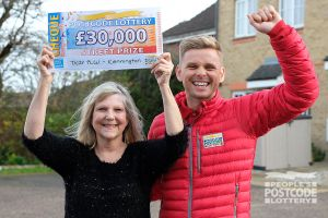 Susan and Street Prize Presenter Jeff Brazier celebrating the big win