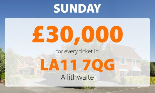 It's a wonderful Sunday for a lucky player in Allithwaite who scooped £30,000