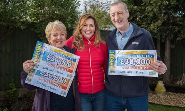 Two of the lucky Ewloe winners with Street Prize Presenter Judie McCourt